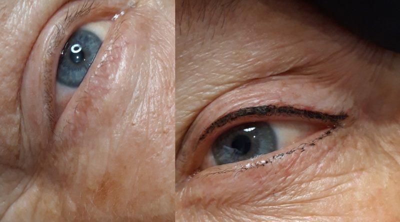 Eyeliner supérieur avec léger soulignement inférieur (photo prise juste après la prestation)
